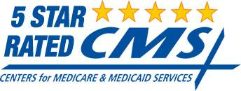An award for 5 star rated CMS centers for Medicare & Medicaid Services.
